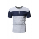 Simple Cozy Short Sleeve V-Neck Button Up Colorblocked Slim Fit Henley Tee for Men