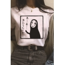 Fashionable Girls Short Sleeve Round Neck Japanese Letter No Face Man Print Relaxed Graphic T Shirt
