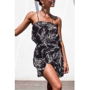 Edgy Girls Sleeveless Button Up Allover Leaf Patterned Ruffled Trim Gathered Waist Short Pleated A-Line Cami Dress