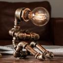 Sitting Robot Iron Small Desk Lamp Vintage 1 Light Coffee House Nightstand Light in Brass