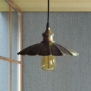 Bronze Scalloped Drop Pendant Light Antiqued Metallic 1-Bulb Restaurant Suspension Lamp, 10