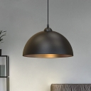 Black Finish 1-Light Down Lighting Farmhouse Iron Dome Shade Pendant Lamp Fixture for Bedroom