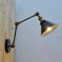 Iron Cone Sconce Lighting Farmhouse 1-Light Balcony Swing Arm Wall Mount Lamp in Black and Brass