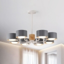 Macaron 8 Heads Ceiling Chandelier with Iron Shade Grey/Green/White Drum Suspended Pendant Light with Radial Design