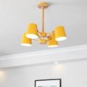 Barrel Flushmount Lighting Contemporary Metal 4 Bulbs Living Room Semi Flush Lamp Fixture in Pink/Yellow with Wood Rod