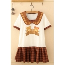 Lovely Girls Short Sleeve Peter Pan Collar Bear Graphic Checkered Panel Mini Pleated A-Line T Shirt Dress in White