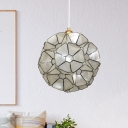 Contemporary 1 Light Splicing Pendant Black Blossom Flower Ceiling Hang Fixture with Shell Shade