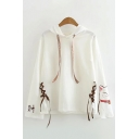 Fashionable Girls Long Sleeve Drawstring Chinese Letter Cat Graphic Relaxed Fit Hoodie in White