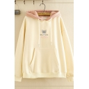 Trendy Womens Long Sleeve Drawstring Letter ALONG Dog Graphic Contrasted Pouch Pocket Oversize Hoodie
