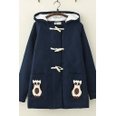 Preppy Girls Long Sleeve Owl Embroidered Sherpa Liner Relaxed Wool Duffle Coat