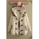 Fashionable Long Sleeve Button Down Floral Pattern Panel Sherpa Lined Relaxed Wool Duffle Coat