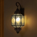 Black 1 Head Sconce Light Fixture Arab Metal Lantern Wall Lamp Shade for Corridor