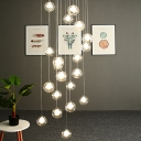 Globe Dimple Glass Cluster Pendant Contemporary 16 Bulbs White Hanging Light Fixture