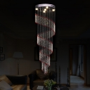 Spiral Faceted Crystal Cluster Pendant Modern 5 Lights Silver LED Down Lighting for Stair