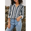 Trendy Street Women's Roll Up Sleeves Lapel Neck Button Front Striped Loose Fit Shirt