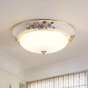 White 1 Head Ceiling Light Fixture Countryside Metal Dome LED Flush Mount Lighting for Bedroom, 12