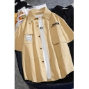 Fashionable Guys' Short Sleeve Lapel Collar Button Down Flap Pockets Label Relaxed Fit Shirt