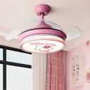 Drum Bedroom Ceiling Fan Light Kids Acrylic Pink/Blue 36