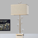 Fabric Rectangle Task Lighting Contemporary 1 Bulb Small Desk Lamp in Gold for Study