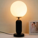 1 Head Study Table Lamp Modern Black Reading Book Light with Spherical White Glass Shade
