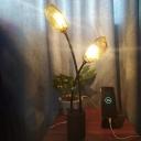 Geometrical Task Lighting Contemporary Amber Glass 2 Heads Living Room Reading Book Light