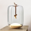 Modernism LED Table Lamp Brass Cylinder Reading Book Light with Smoke Glass Shade