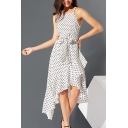 Gorgeous Ladies' Sleeveless Polka Dot Printed Bow Tie Waist Ruffled Long Wrap Flowy Cami Dress