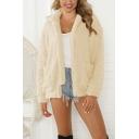 Popular Warm Women's Long Sleeve Stand Collar Zipper Front Pockets Side Sherpa Fleece Plain Loose Fit Jacket