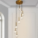 Globe Cluster Pendant Contemporary White/Clear Prismatic Glass 8/9 Bulbs Stair Hanging Light Fixture