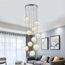 10 Heads Stair Drop Lamp Minimalism Chrome Multi Light Pendant with Sphere Amber Glass Shade