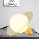 Spherical Nightstand Lamp Contemporary 1 Head White Glass Bedroom Reading Book Light