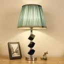 1 Head Barrel Nightstand Lamp Modern Fabric Reading Light in Green/Red for Living Room