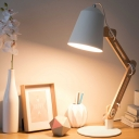 White Conical Desk Light Contemporary 1 Bulb Metal Night Table Lamp with Wood Arm