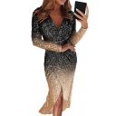 Amazing Sparkle Women's Long Sleeve Surplice Neck Ombre Sequins Maxi Wrap Gown Dress