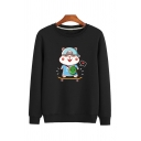 Popular Guys' Long Sleeve Crew Neck Mouse Printed Fitted Pullover Sweatshirt
