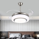 Acrylic 2 Layers Ceiling Fan Lighting Modern Bedroom LED Semi Flush Mounted Lamp in Silver with 4 Blades, 48