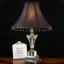 Fabric Paneled Bell Desk Light Modernism 1 Head Black Night Table Lamp for Bedside