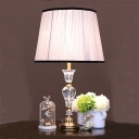 1 Head Barrel Task Lighting Modern Fabric Small Desk Lamp in Light Purple for Study