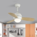 Simple LED Semi Flush Lighting with Metal Shade White/Yellow/Blue Dome 3-Blade Hanging Fan Lamp with Wall/Remote Control, 36