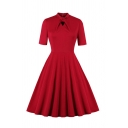 Women's Retro Red Short Sleeve Bow Tie Neck Long Pleated Flared Dress