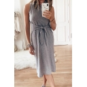 Casual Fashion Plain Sleeveless Round Neck Bow Tie Waist Maxi Shift Tank Dress for Women
