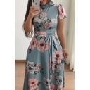 Women's Fashionable Short Sleeve Crew Neck All Over Floral Printed Bow Tie Waist Pleated Maxi A-Line Dress