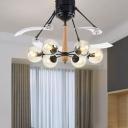 Black 6-Bulb Ceiling Fan Lighting Vintage Clear Glass Ball 4-Blade Semi Flush Lamp for Living Room, 48