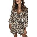 Sexy Fancy Ladies Long Sleeve Surplice Neck Tied Waist Leopard Printed Sequined Mini Wrap Dress