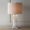 1 Head Cylindrical Desk Lamp Modernism Fabric Table Light in White with Marble Base