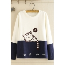 Causal Womens Long Sleeve Crew Neck Cat Footprint Embroidery Colorblock Relaxed Fit Sweatshirt