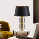 1 Bulb Bedside Table Light Modernism Black Nightstand Lamp with Cone Fabric Shade