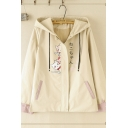 Fashionable Women's Khaki Roll-Up Sleeves Hooded Button Zipper Down Japanese Letter Cat Graphic Loose Fit Coat