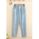 Popular Girls' Drawstring Waist Rabbit Carrot Embroidered Tapered Fit Ankle Jeans