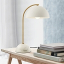 Metal Bowl Task Light Contemporary 1 Bulb Reading Lamp in Brass/White with Marble Base